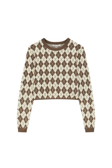 Cropped sweater with argyle design