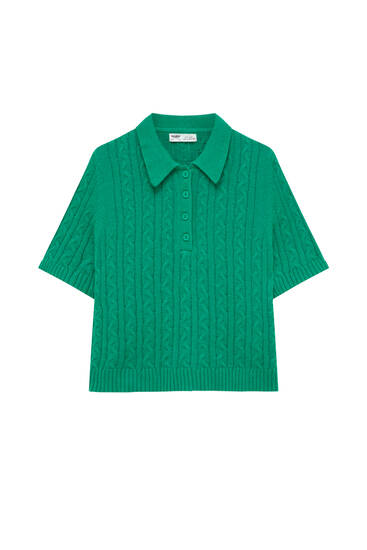 Cable-knit polo shirt with short sleeves