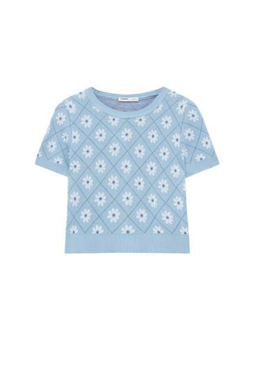 Short sleeve jacquard printed sweater