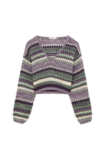 Knit sweater with flecked stripes