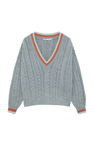 Cable-knit varsity sweater