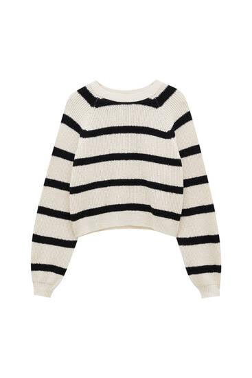 Navy stripe purl knit sweater