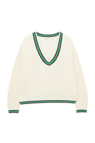 Knit varsity sweater with V-neck