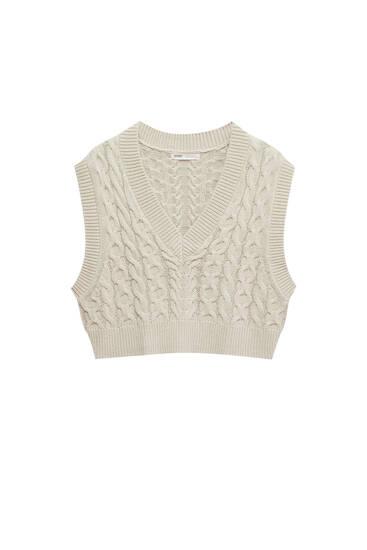 Cable-knit V-neck vest