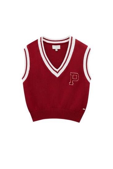 Red knit varsity vest