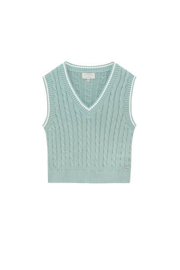 Cable-knit vest with ribbing