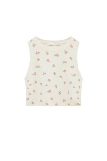 Floral print knit vest
