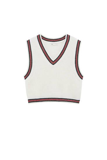 Purl knit varsity vest