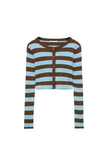 Ribbed knit striped cardigan