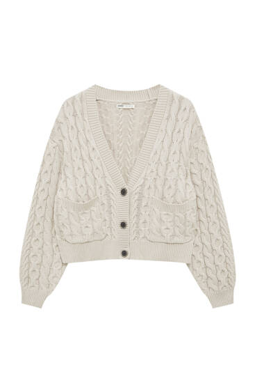 Chunky cable-knit cardigan
