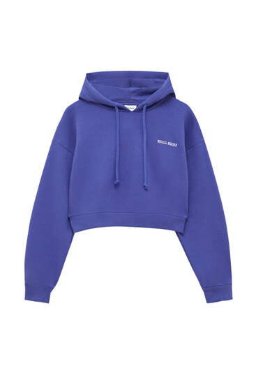 Sweat cropped violet capuche