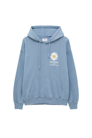Blue daisy pouch pocket hoodie