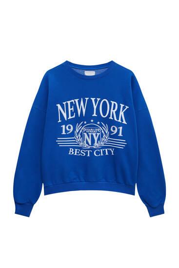 Sweat bleu brodé New York