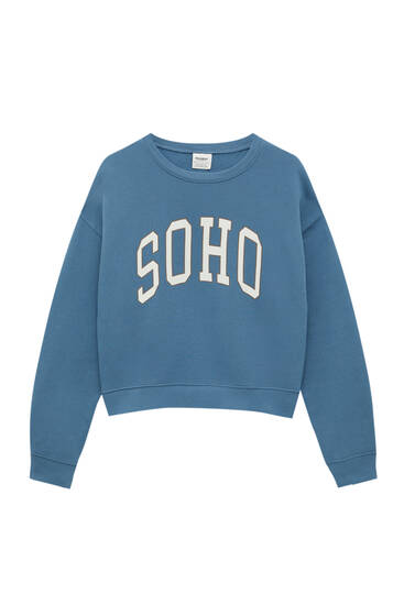 Basic round neck sweatshirt with slogan