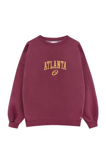 Sweatshirt oversize com bordado em contraste