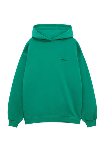 Sudadera básica verde capucha