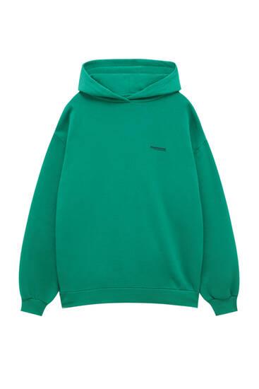 Sweatbasique vert capuche