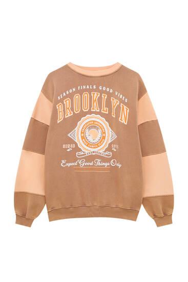 Sweat universitaire Brooklyn color block