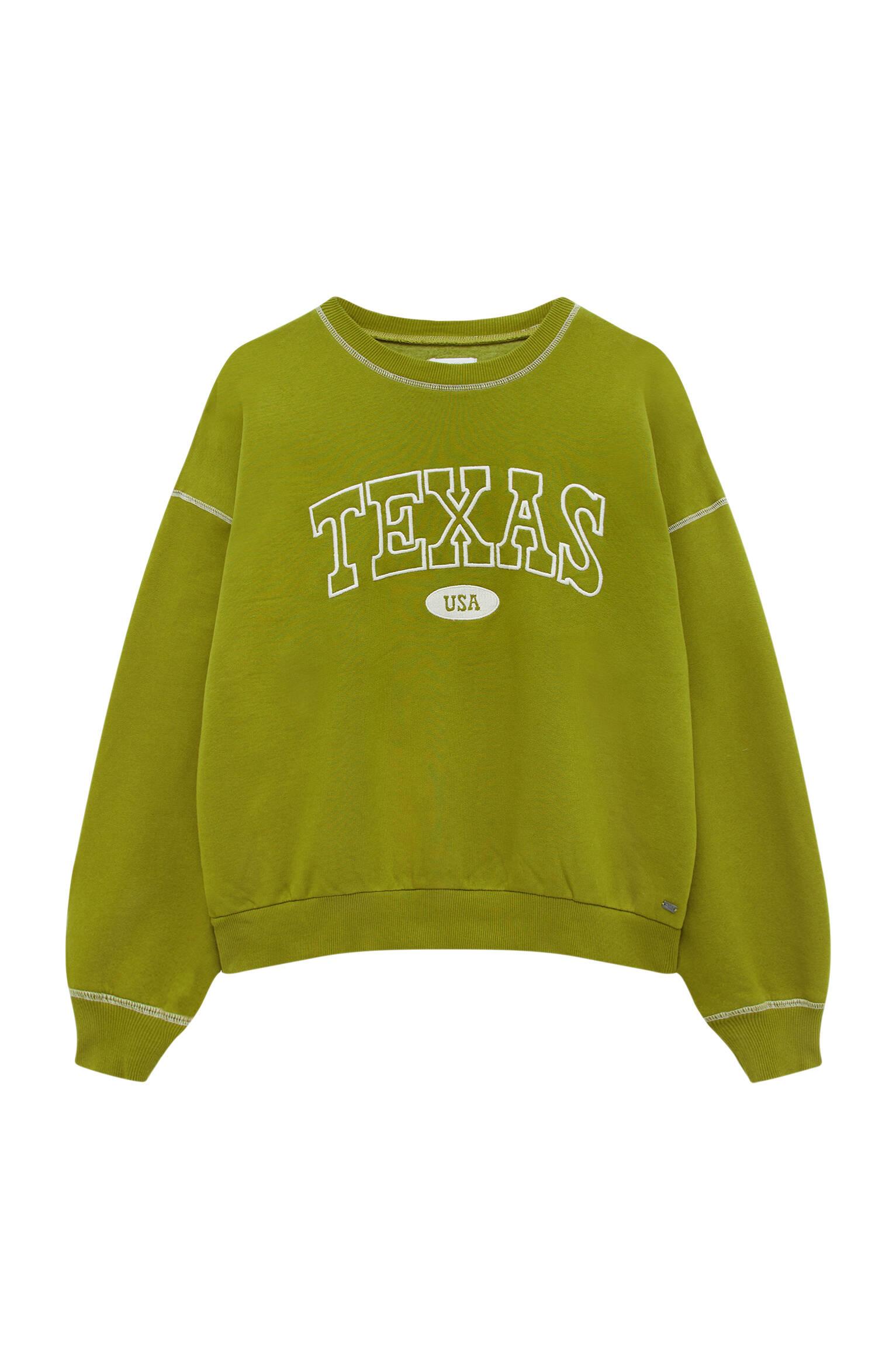 Pull&bear Femme Sweat Vert Olive En Coton à Manches Longues Et Col Rond, Avec Inscription « texas »