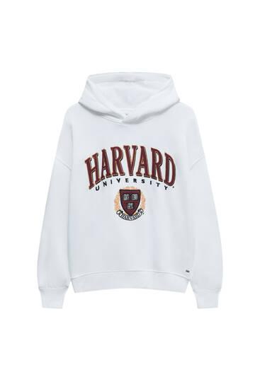 Sweat universitaire blanc Harvard