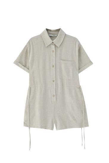 Rustic shirt jumpsuit