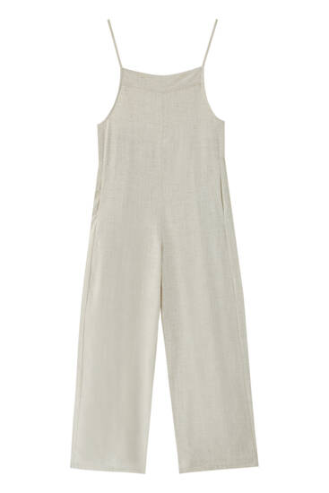 Long rustic dungarees with open back