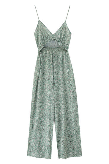 Cut-out printed jumpsuit