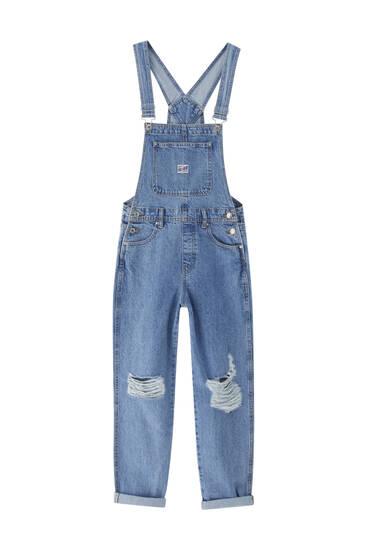 Salopette en jean basique déchirures - Coton biologique (au moins 50%)