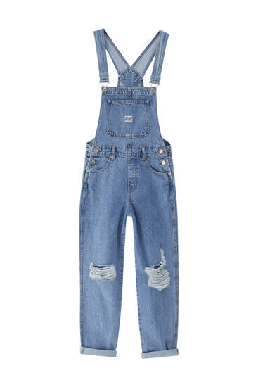 Basic ripped denim dungarees - ecologically grown cotton (at least 50%)