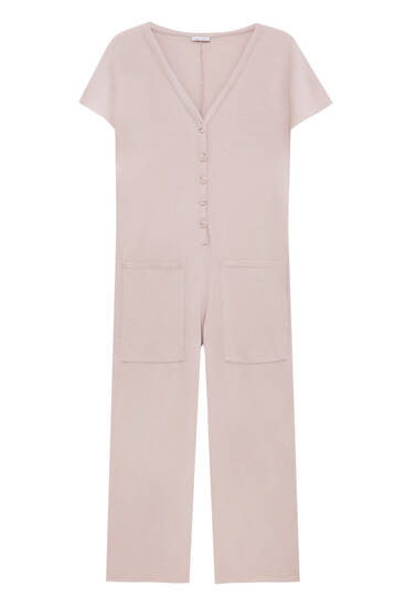 Culotte jumpsuit with front buttons