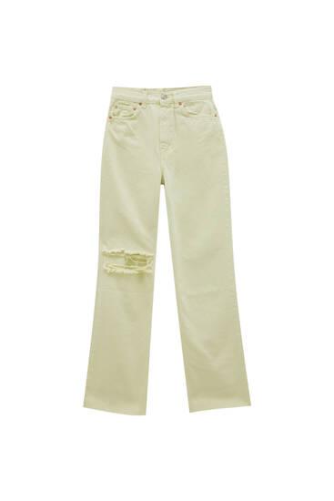 High-waist straight-leg coloured jeans