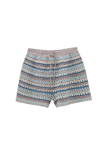 Striped crochet shorts