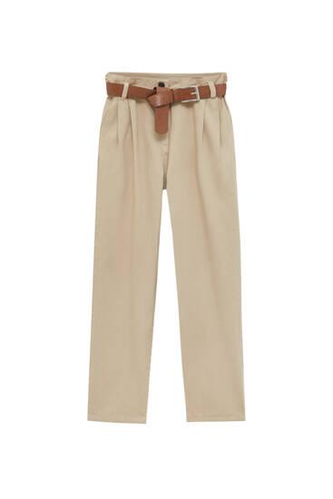 Nohavice širokého strihu so záhybmi