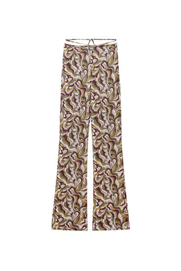 Παντελόνι καμπάνα με ρετρό τύπωμα