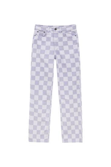 Straight-leg check jeans