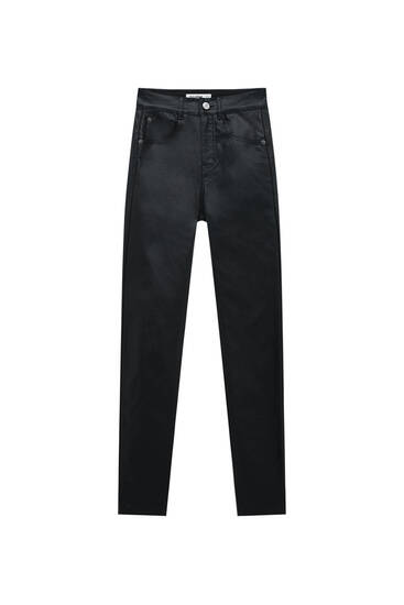 Coated push-up trousers