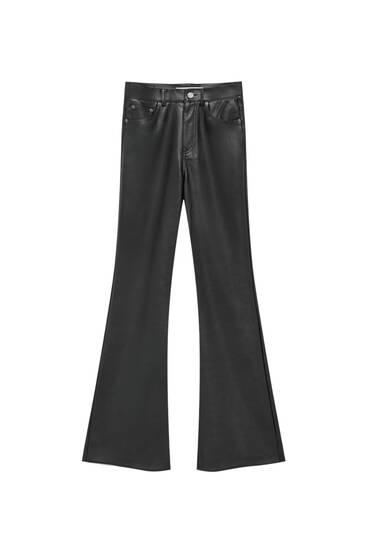 Παντελόνι με φαρδύ μπατζάκι και όψη δέρματος