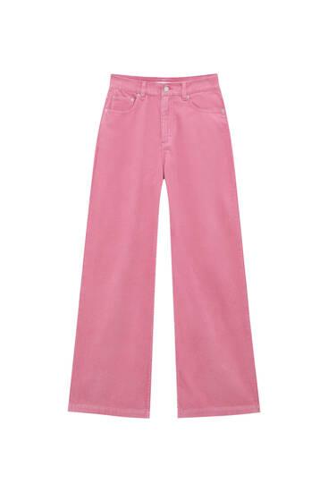 Široké farebné menčestrové nohavice