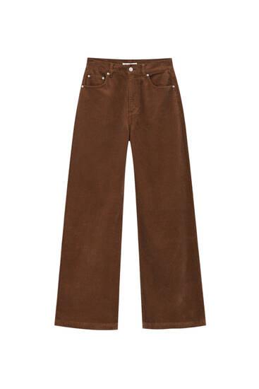 Pantalón wide leg pana color