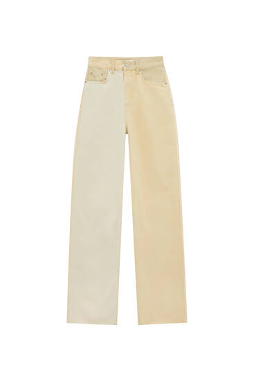 Sand-coloured patchwork jeans