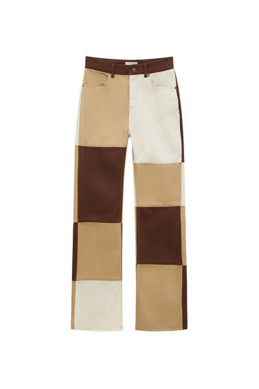 Brown patchwork trousers