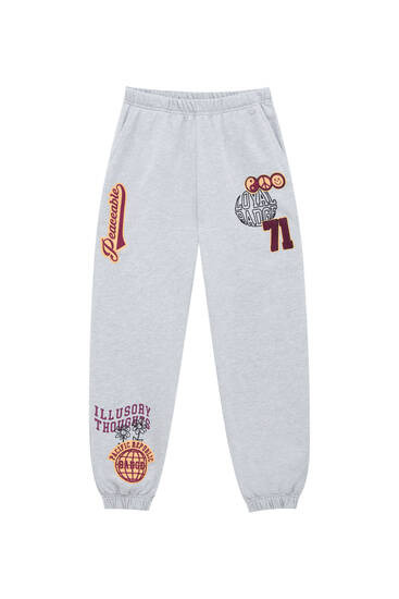Marl grey joggers with patches