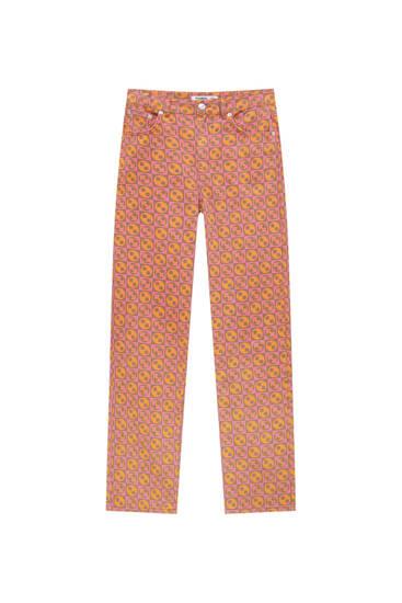 Geometric print high-waist straight-leg jeans