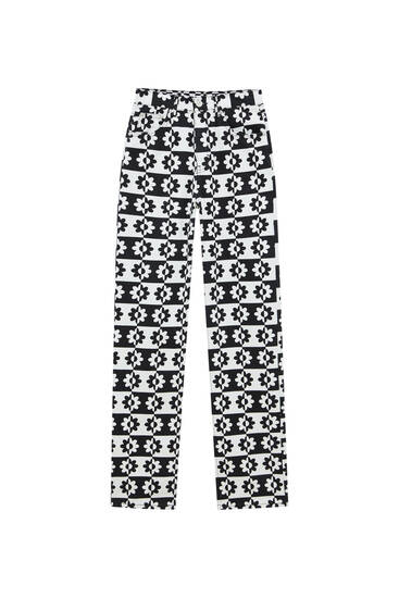 Straight black and white print jeans