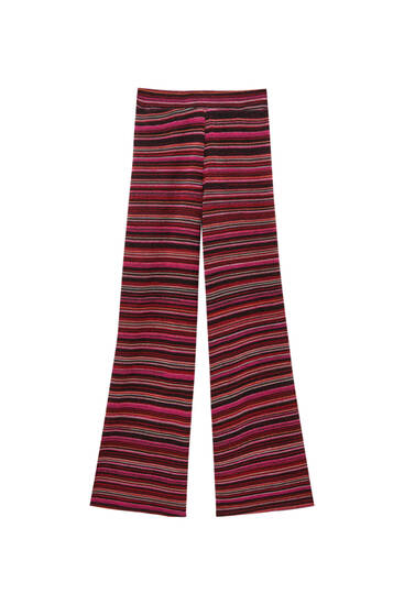 Striped burgundy knit flare trousers