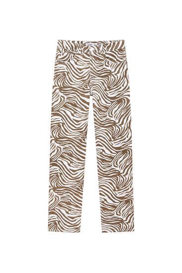 Straight-fit zebra print jeans