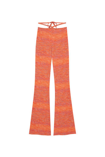 Flecked knit flare trousers
