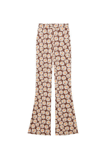 Pantalon évasé marguerites