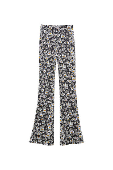 Daisy print flared trousers