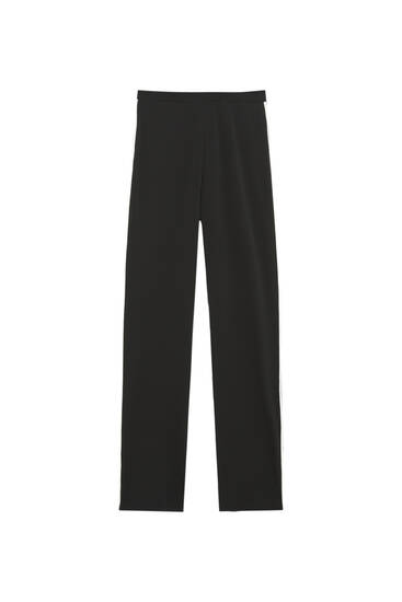 Straight-cut trousers with contrast stripes
